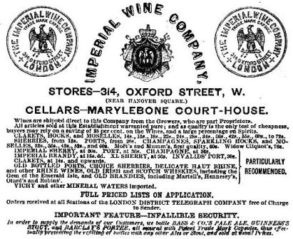 Imperial Wine by Telegraph 1862